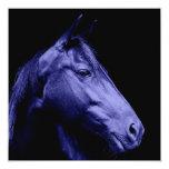 """Blue Horse Design Invitation 5.25"""" Square Invitation Card"""