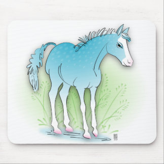 blue horse mouse pads