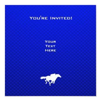 Blue Horse Racing 13 Cm X 13 Cm Square Invitation Card