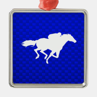 Blue Horse Racing Silver-Colored Square Decoration