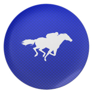 Blue Horse Racing Dinner Plate