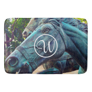 Blue horse statue photo custom monogram bath mat bath mats