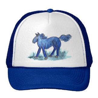 Blue Horse - whimsical Watercolor Cap