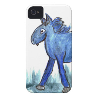 Blue Horse - whimsical Watercolor iPhone 4 Case