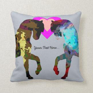 Blue Horses Personalized Cushion