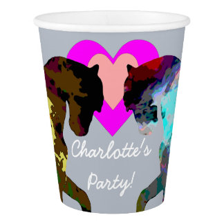 Blue Horses Personalized Paper Cups