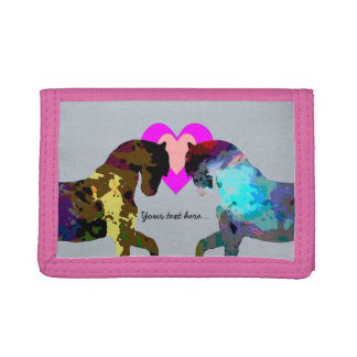Blue Horses Personalized Tri-fold Wallet