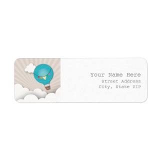 Blue Hot Air Balloon Address Label