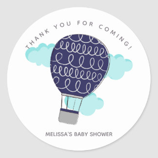 Blue Hot Air Balloon Baby Shower Thank You Classic Round Sticker