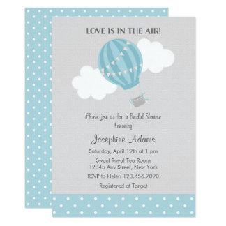 Blue Hot Air Balloon Bridal Shower Invitation