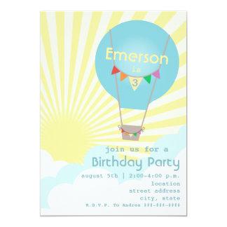 Blue Hot Air Balloon Kids Birthday Party Custom Announcement