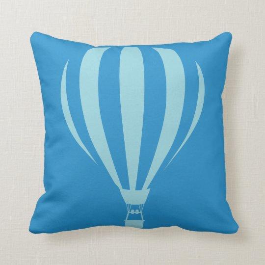 Blue Hot Air Balloon Throw Cushion
