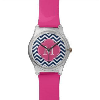 Blue & Hot Pink Chevrons Monogram Wristwatch