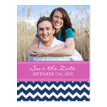 Blue Hot Pink Photo Save the Date Wedding Postcard