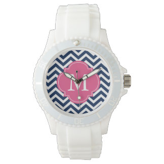 Blue & Hot Pink Zigzags Pattern Monogram Watch
