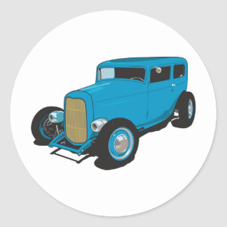 Blue Hot Rod Round Sticker
