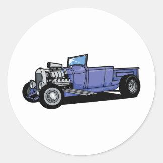 Blue Hot Rod Truck Round Sticker
