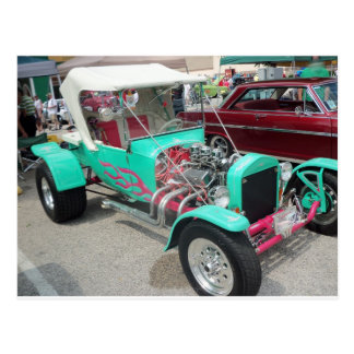 Blue Hot Rod With Pink Trim Postcard