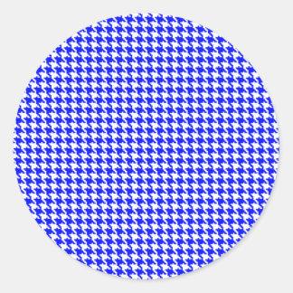 Blue Houndstooth Pattern Round Sticker
