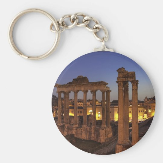 Blue hour at the Forum Romanum, Rome Basic Round Button Key Ring