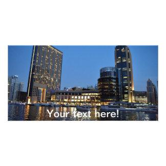 Blue hour skyscrapers in Dubai Marina Photo Cards