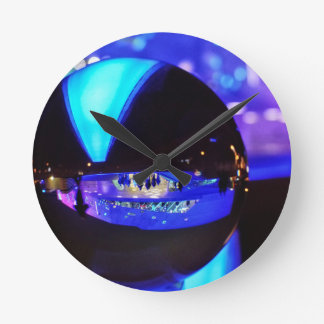 Blue hour through the crystal ball round wallclocks