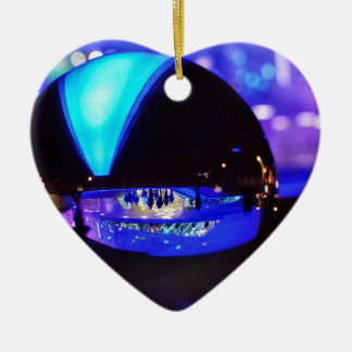 Blue hour through the crystal ball Double-Sided heart ceramic christmas ornament