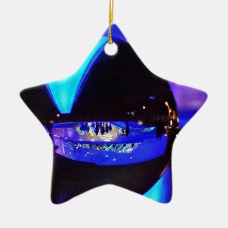 Blue hour through the crystal ball christmas tree ornament