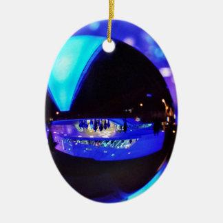 Blue hour through the crystal ball Double-Sided oval ceramic christmas ornament