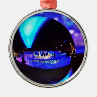 Blue hour through the crystal ball ornaments