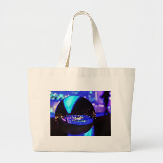 Blue hour through the crystal ball large tote bag