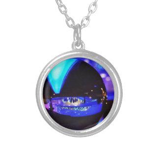 Blue hour through the crystal ball pendants