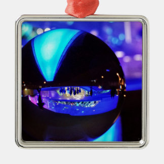 Blue hour through the crystal ball Silver-Colored square decoration