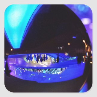 Blue hour through the crystal ball square stickers