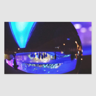 Blue hour through the crystal ball rectangular sticker