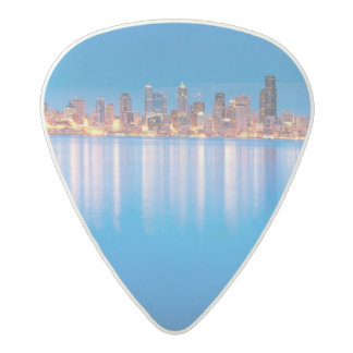 Blue hour view of downtown Seattle Acetal Guitar Pick