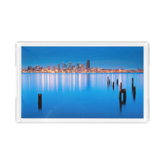 Blue hour view of downtown Seattle Acrylic Tray