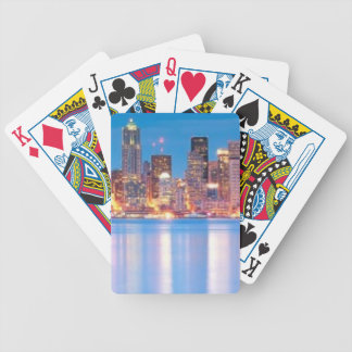 Blue hour view of downtown Seattle Bicycle Playing Cards