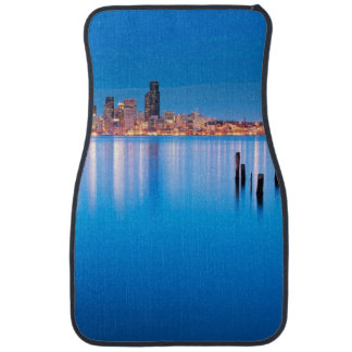 Blue hour view of downtown Seattle Car Mat