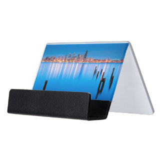 Blue hour view of downtown Seattle Desk Business Card Holder