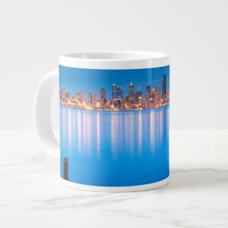 Blue hour view of downtown Seattle Large Coffee Mug