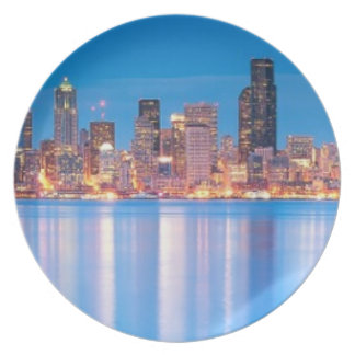 Blue hour view of downtown Seattle Plate