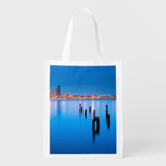 Blue hour view of downtown Seattle Reusable Grocery Bag