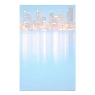 Blue hour view of downtown Seattle Stationery