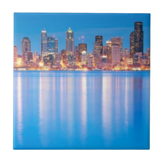 Blue hour view of downtown Seattle Tile