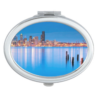 Blue hour view of downtown Seattle Vanity Mirror