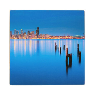 Blue hour view of downtown Seattle Wood Coaster