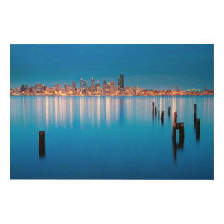 Blue hour view of downtown Seattle Wood Wall Decor