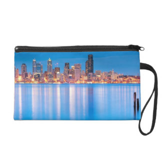 Blue hour view of downtown Seattle Wristlet
