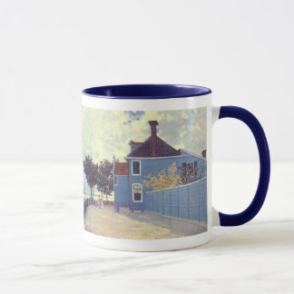 Blue House at Zaandam by Claude Monet, Vintage Art Mug